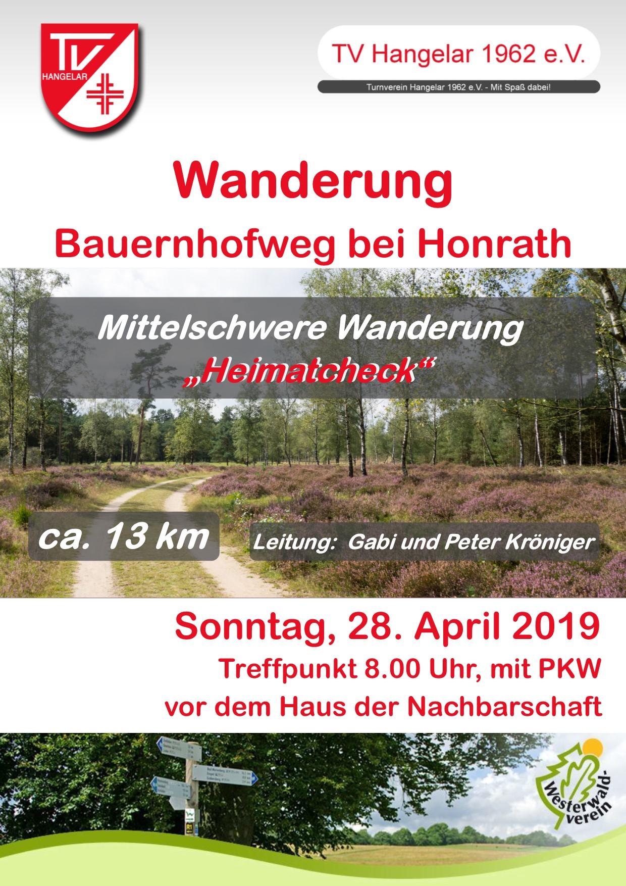 Wanderung 28. April 2019 Honrath